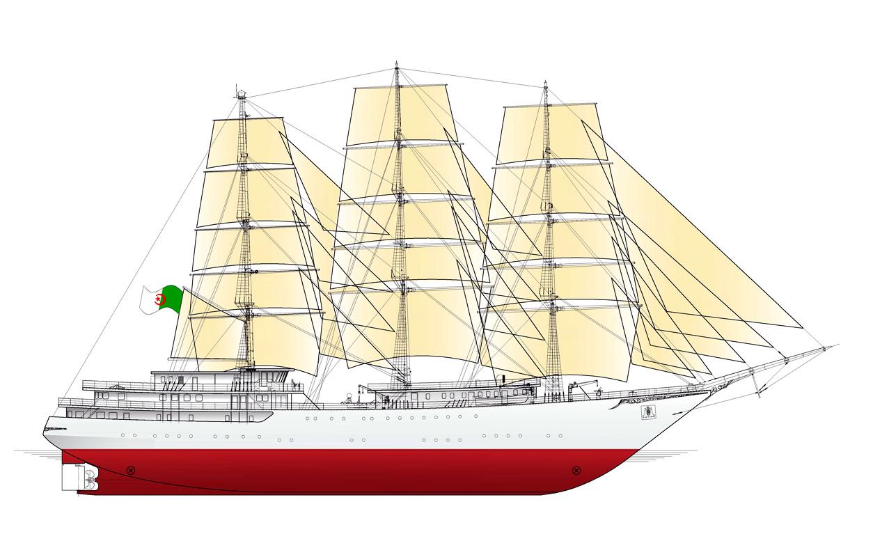 الجزائر تبني السفينة الشراعية  في بولونيا والتسليم في 2016 Zaglowiec_algieria_sylwetka_800